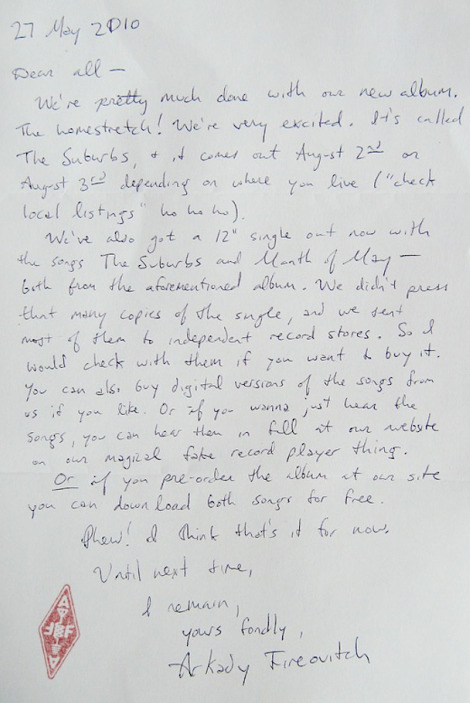 arcade fire letter